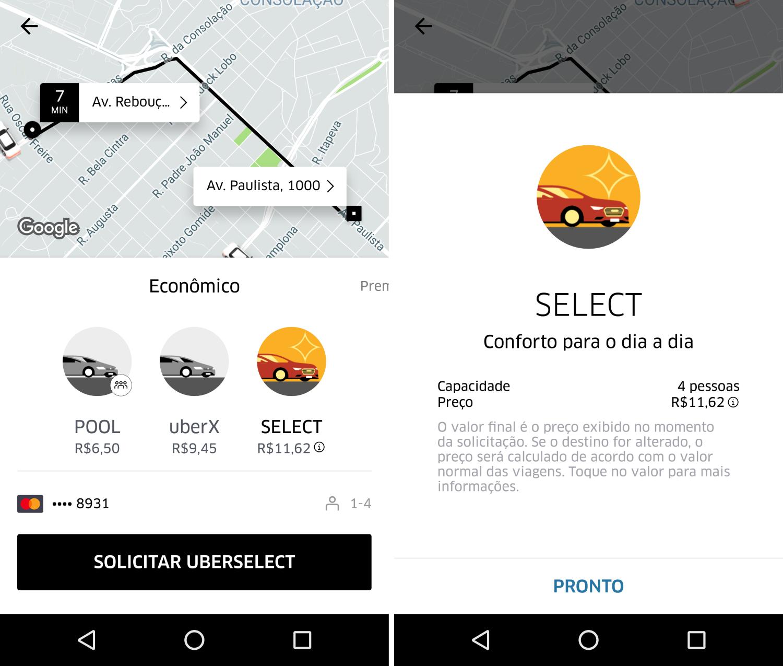 Categorias Uber São Paulo